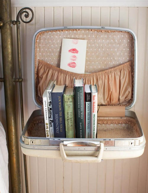 Suitcase Shelf - Wanderlust Style: Suitcases as Decor - www.AFriendAfar