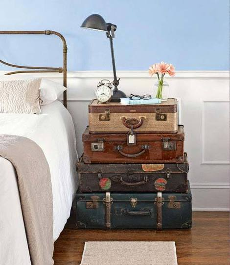 Vintage Suitcase Nightstand - Wanderlust Style: Suitcases as Decor - www.AFriendAfar