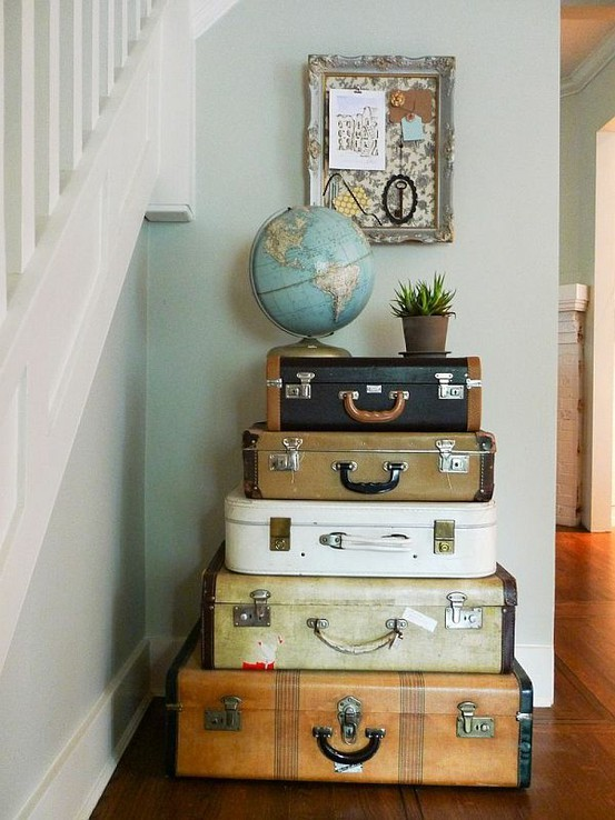 Suitcase Stack - Wanderlust Style: Suitcases as Decor - www.AFriendAfar
