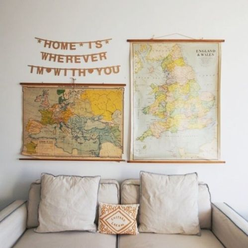 Maps in Home Decor - Vintage Classroom Map Collage - www.AFriendAfar.com