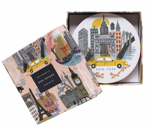 Travel Gift Guide: Rifle Paper Company City Coasters - Best Gifts for Travelers - www.AFriendAfar.com